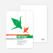1000 Cranes Party Invitations - Kelly Green