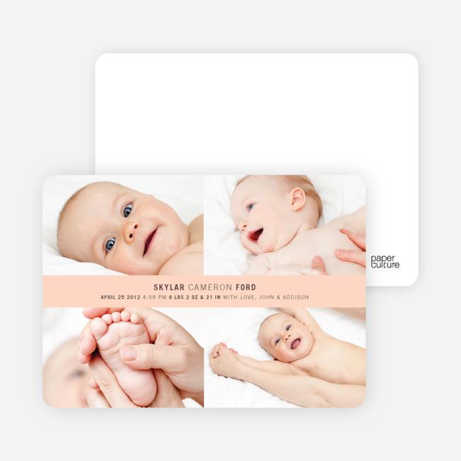 4 Photo Birth Announcements - Peach