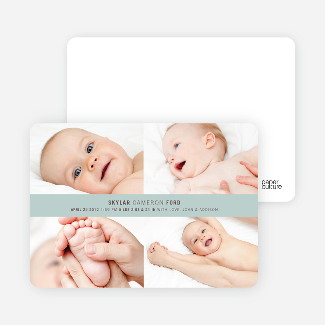 4 Photo Birth Announcements - Bed Ice