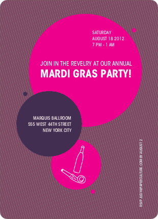 4th of July and Mardi Gras Celebrate Summer Party Invitations - Eggplant