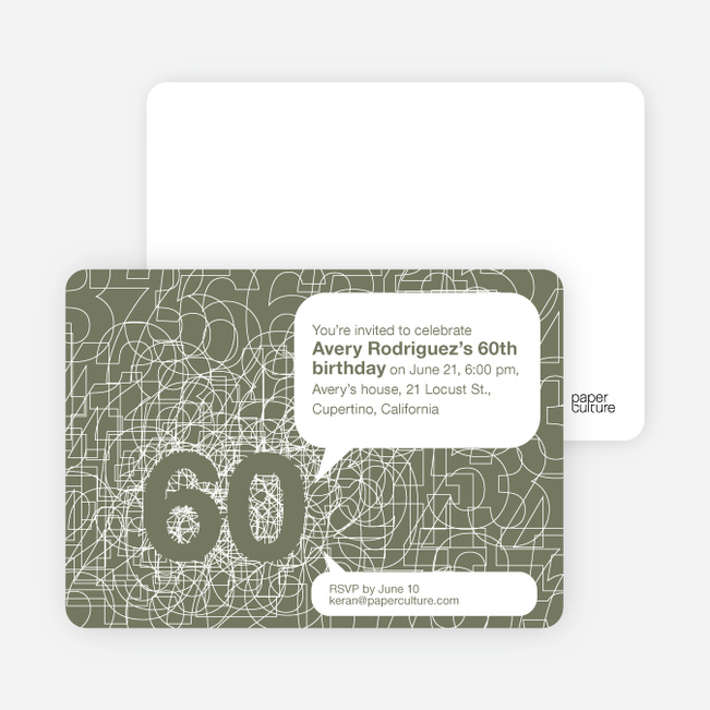 60th Birthday Party Invitations with a Numbers Theme - Taupe