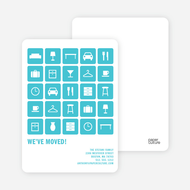 A Dozen Different Objects for your Moving Announcements - Robin Egg Blue