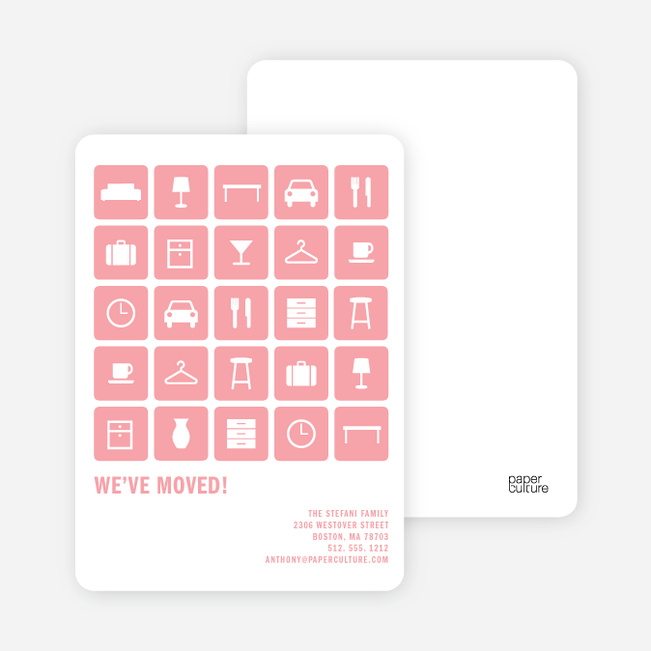 A Dozen Different Objects for your Moving Announcements - Pink Pen Pal