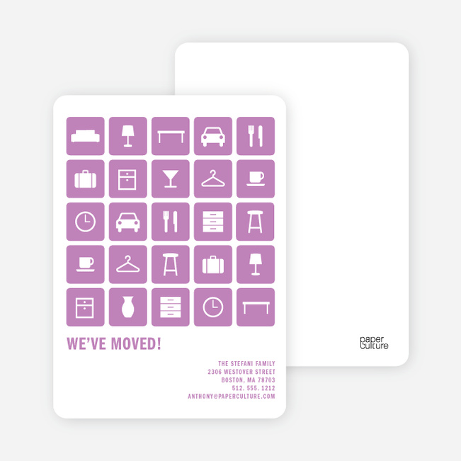 A Dozen Different Objects for your Moving Announcements - Purple Packrat