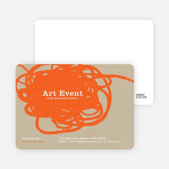 Abstract Brush Invitations - Orange Scribble
