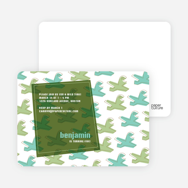 Airplane Birthday Invitation - Army Green