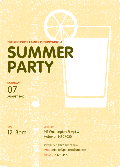 Lemonade Summer Party Invitations - Lemon