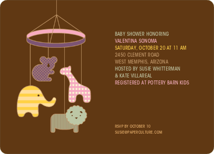 Animal Mobile Baby Shower Invitations - Cotton Candy