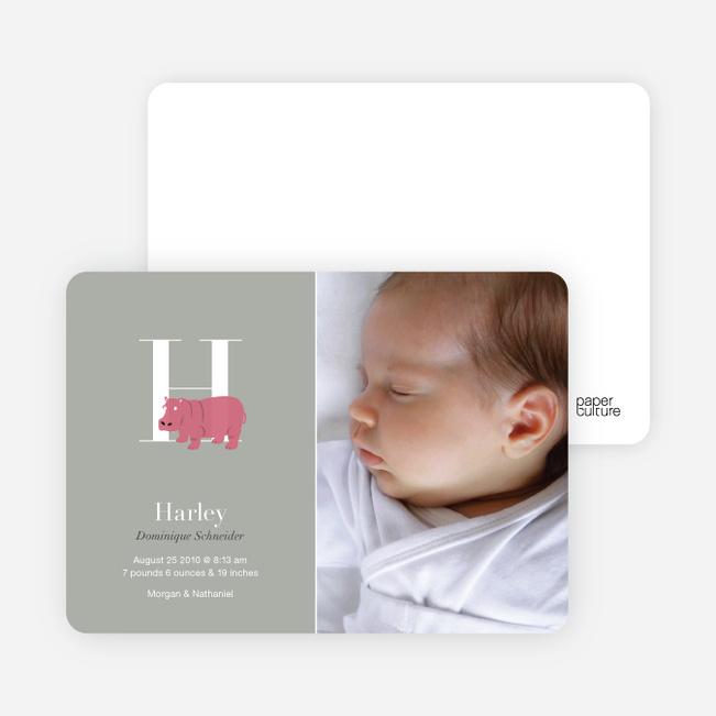 Animal Monogram Series Letter H: Hippo - Warm Gray