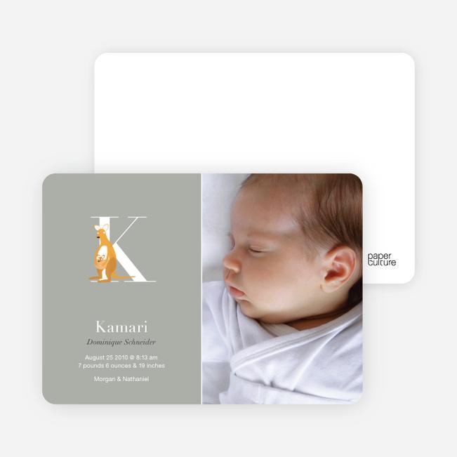 Animal Monogram Series Letter K: Kangaroo - Warm Gray