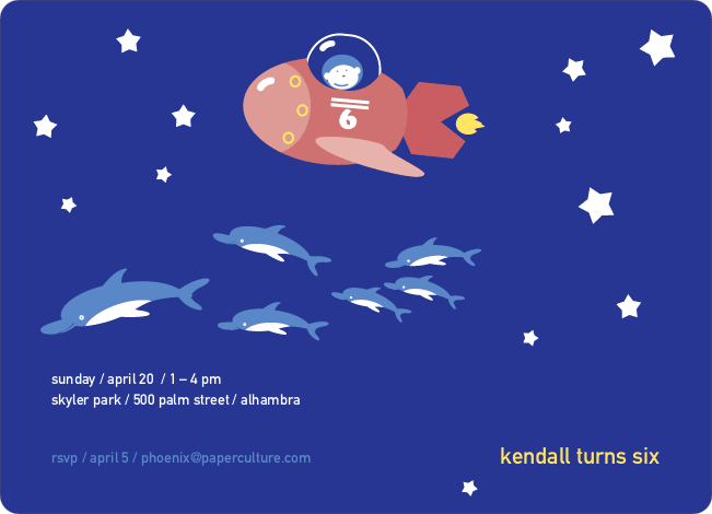Spaceships and Dolphins Modern Birthday Invitation - Slate Blue