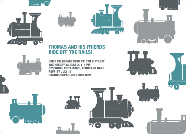 Thomas Loves the Train: Birthday Party Invitation - Blue