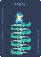Super Hero Birthday Party Invitation - Grey Blue