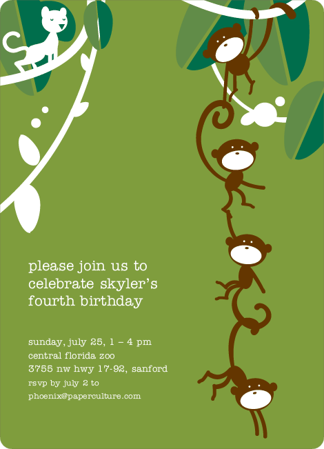 Monkey Business Birthday Invitation - Simple Green