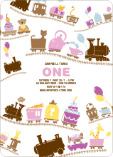 Little Engine that Would and Could Birthday Invitation - Pink