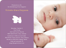 Swan Cross Baptism Photo Card - Purple