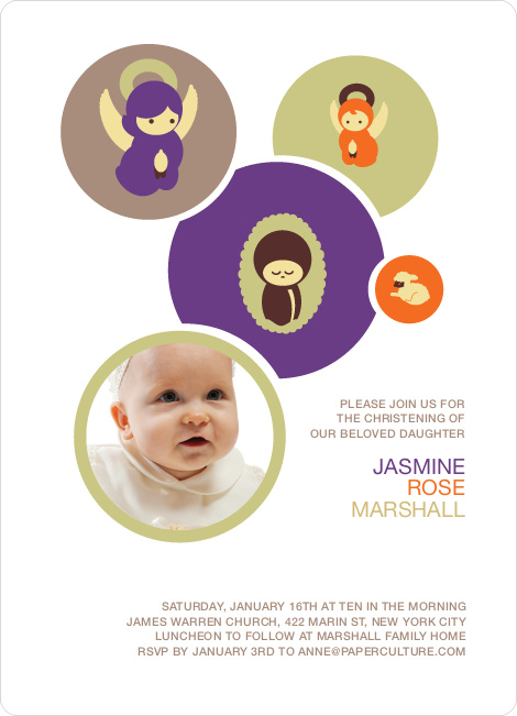 Baptism Invitation: Hark, the Angels Sing - Purple