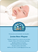 Stained Glass Baptism Photo Card - Light Blue