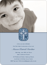 Stained Glass Communion Invitations - Powder Blue