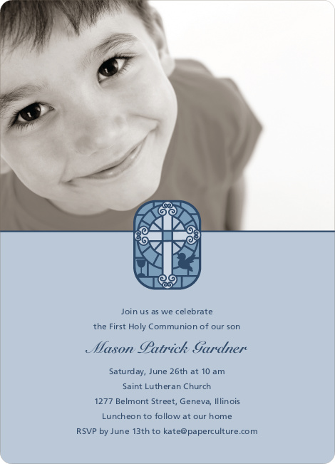 Stained Glass Photo Card for First Holy Communion Invitations - Powder Blue