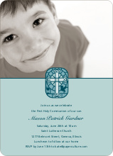 Stained Glass Communion Invitations - Sage Green