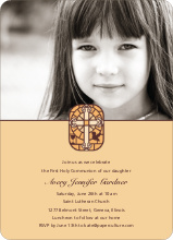 Stained Glass Communion Invitations - Golden Yellow