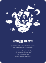 Flying Pirate Ship Halloween Party Invitations - Deep Blue