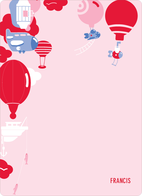 Note Cards: 'Up up and away!' cards. - Cherry Red