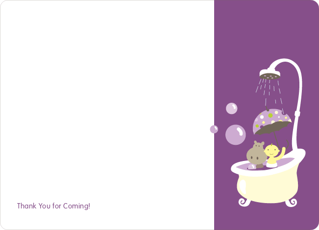 Note Cards: 'Hippo in the Tub' cards. - Amethyst