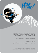 Stealth Ninja Children's Birthday Invitations - Blue Rain