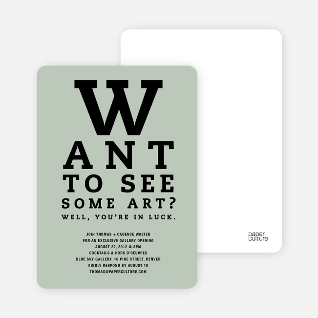 Art Gallery Opening Invitations Inspired by an Eye Chart - Ash