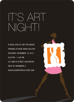 Art Night Invitations - Hot Pink