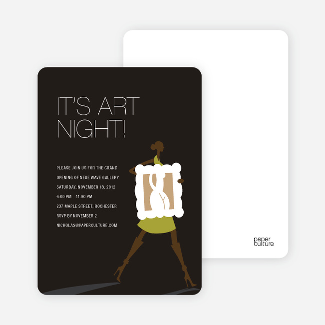 Art Night Invitations - Chartreuse