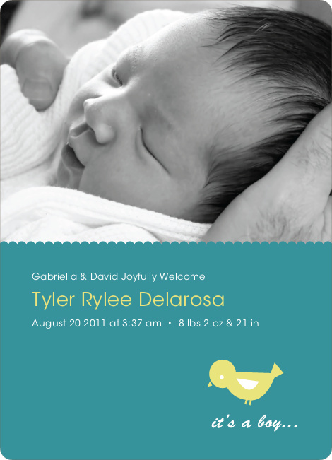 Birdie Baby Announcement - Teal