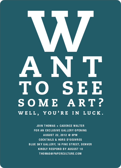 Art Gallery Opening Invitations Inspired by an Eye Chart - Mystic Blue