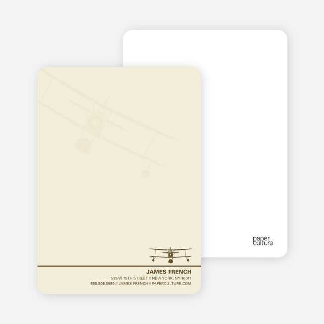 Aviator Custom Stationery for Airplane Fanatics - Ecru