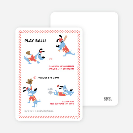 Babe Woof Baseball Themed Party Invitations Red Shirt