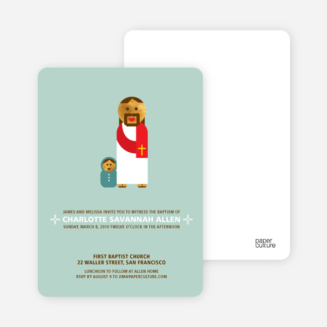 Baby and Jesus Baptism Invitation - Greenish Blue