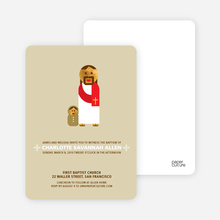 Baby and Jesus Baptism Invitation - Beige