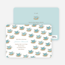 Baby Bird Shower Invitation - Sea Blue