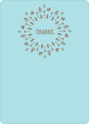 Baby Icon Burst Matching Thank You Cards - Boy Blue