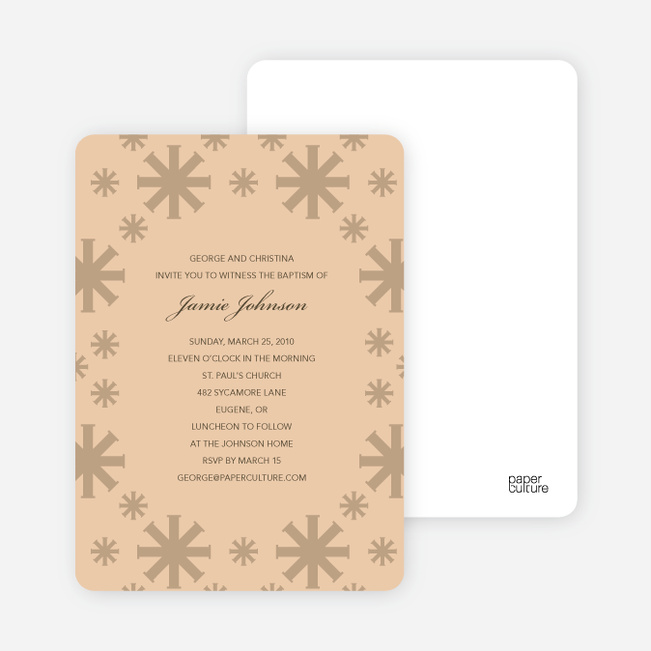 Baptism Invitations: Crossing Crosses - Beige