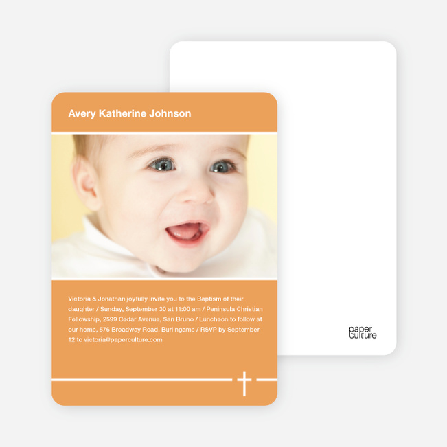 Baptism Photo Card: Simple Cross - Orange