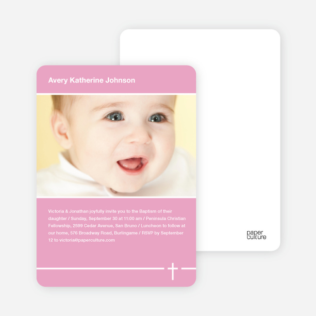 Baptism Photo Card: Simple Cross - Pink