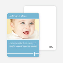 Simple Cross Baptism Photo Card - Blue