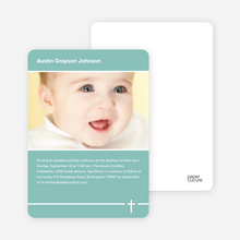 Simple Cross Baptism Photo Card - Green
