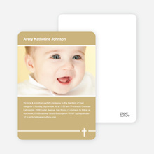 Baptism Photo Card: Simple Cross - Beige