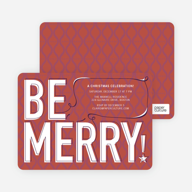 Be Merry! Holiday Invitations - Terra Cotta