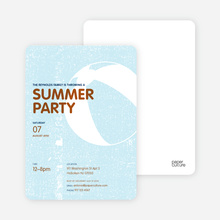 Beach Ball Summer Party Invitations - Glacier
