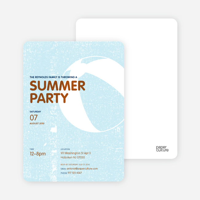 Summer Party Invitations – Beach Ball Party Invitations